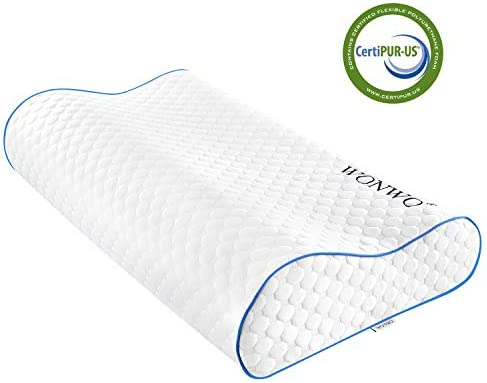 Wonwo Memory Foam Pillow Ergonomic Contour Cervical Massage Deep Sleep Neck Support Bed PillowRemovable Washable Cover CertiPUR-US (Standard Size)