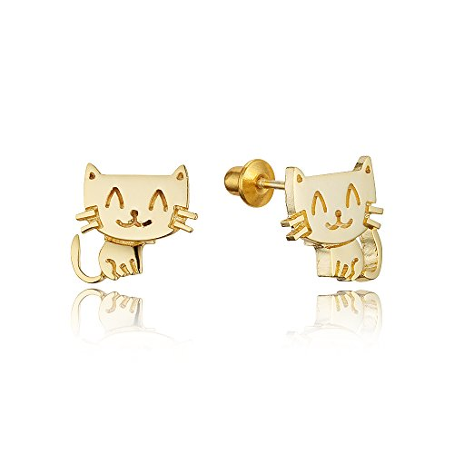 14k Gold Plated Brass Baby Happy Cat Screwback Baby Girls Earrings with Sterling Silver Post