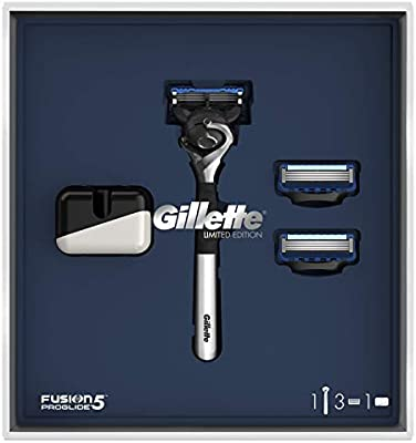 Gillette Fusion5 ProGlide Set de Regalo Maquinilla Edición Limitada con Mango Cromado, 2 Recambios y Soporte: Amazon.es: Salud y cuidado personal