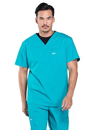 Cherokee Professionals by Workwear Men's V-Neck Solid Scrub Top Medium Teal Blue (Uniform Poplin Cherokee)