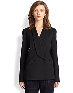 Theory Amala Virtuous Black Virgin-Wool Shawl-Lapel Blazer Jacket - Size 4
