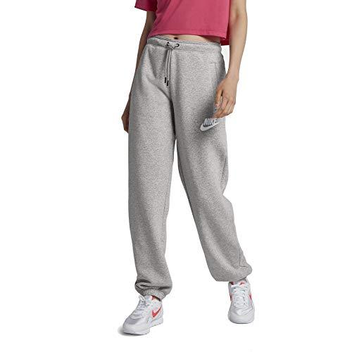 Athletic Nike Sweatpants - Nike Sportswear Rally Loose Women's Fleece Pants (Grey Heather/Pale Grey/White, Medium)