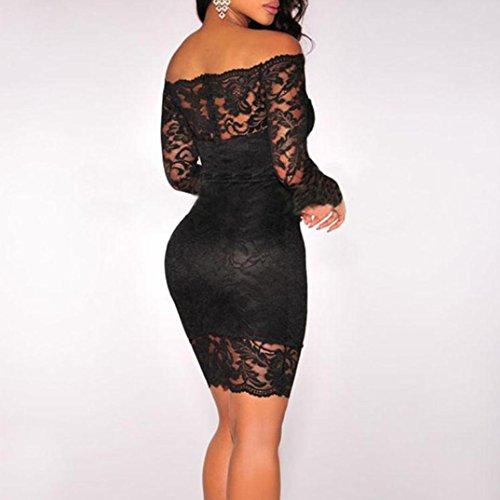 encaje mujer A Word de Vestido Shoulder mujer de Negro Xinan de larga largo manga sexy fiesta para de Vestido de cóctel z1pAIq