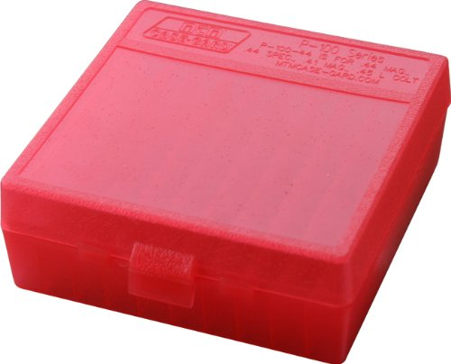 (MTM 100 Round Flip-Top Ammo Box 41/44 Cal (Clear Red) )