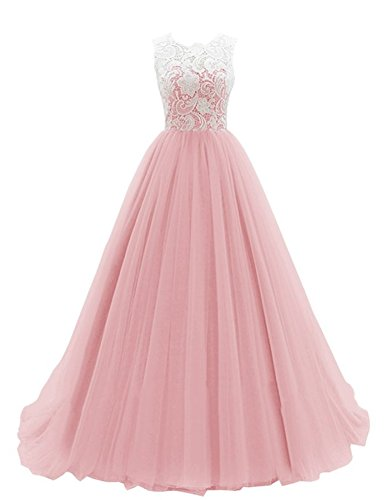 [Yougao Women's Lace Long Evening Gowns Party Dresses Tulle Prom Homcoming Dress US 24W Blush] (Plus Size Formal Dresses)