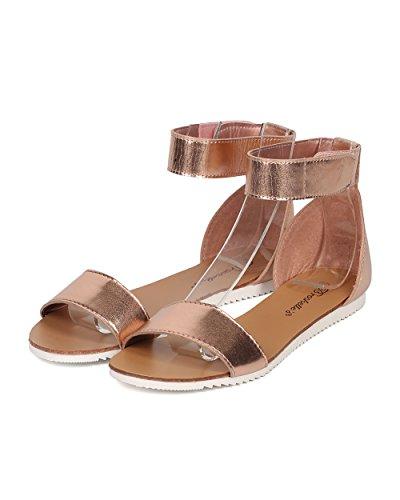 Breckelles Donna Cinturino Alla Caviglia Metallico Sandalo Oro Rosa