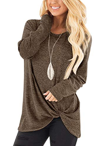 Unidear Women's Casual Long Sleeve Twist Knotted Hem Blouse Tops Coffee M ()
