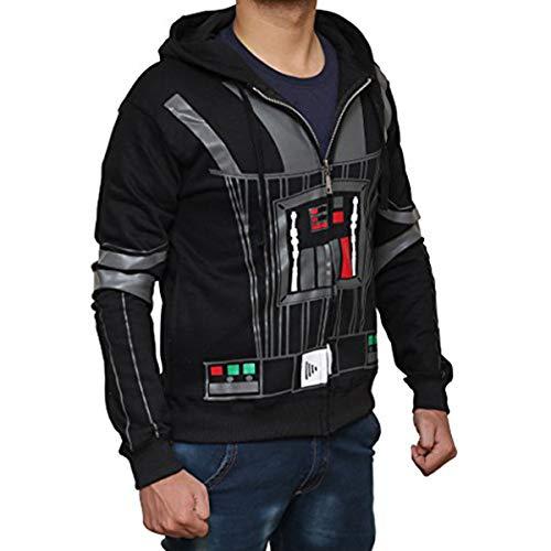 Star Wars Costume Hoodie - Darth Vader Hoodie Costume Zip Up Hoodie by Miracle (X-Large) Black Darth Vader Costume T-shirt
