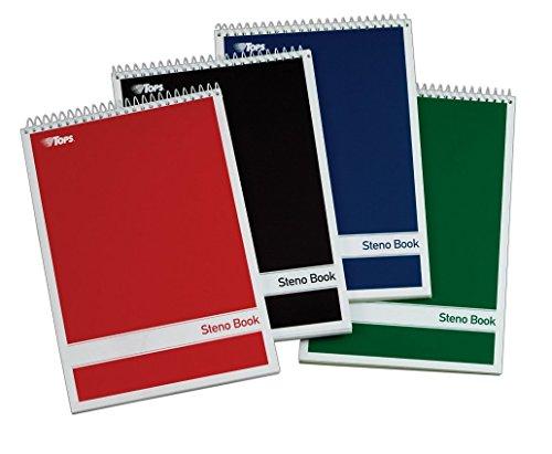 TOPS Spiral Steno Books, 6 x 9 Inches, Gregg Rule, White Paper, Assorted Covers, 80 Sheets per Book, 4 Books per Pack (80220)