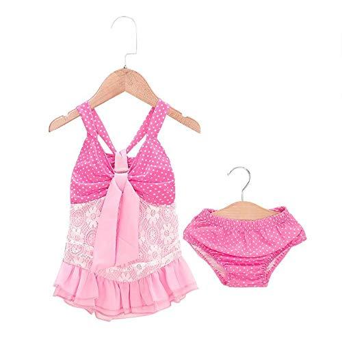 Procyon Cute 2pcs Swimwear Pink Halter Swimsuit Baby Girls Bikini Set Dot Print Summer Ruffle Split Beach Bathing Suit