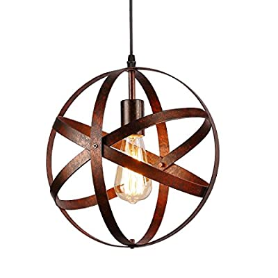 Industrial Vintage Globe Pendant Light Fixture,Metal Spherical Changeable Hanging Ceiling Light Chandelier Fixture for Kitchen Island Living Room Dining Room