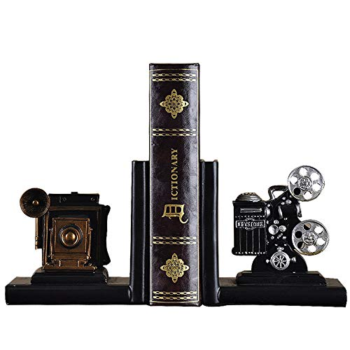 Chris.W Vintage Camera Desk Bookends Film Movie Projector Book Stands Decorative Book Ends Movie Lover Collector's Items