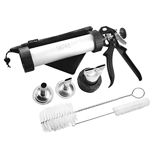 SIGVAL Jerky Gun, 1 Pound Capacity Jerky Maker, Aluminum Barrel, Easy to Clean Handle and Stainless Steel Nozzles (Meat Gun)