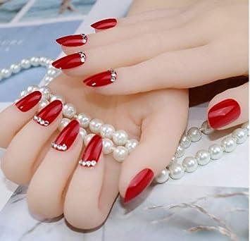 Amazon.com: Uñas rojas falsas para mujeres con forma de ...