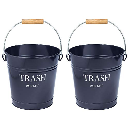 mDesign Small Round Metal Trash Can Pail, Wastebasket, Garbage Container Bin for Bathrooms, Kitchens, Home Offices - Farmhouse Decor - Portable, Wood Grip Handle - 2 Pack - Navy Blue/White Lettering (Bucket Wood Bath)