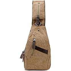 Outdoor cycling usb Casual Canvas Crossbody Sling Bag Men Women Chest Gym Bag ShoulderShoulder Bag Chest Bag Hiking Daypacks for Mens