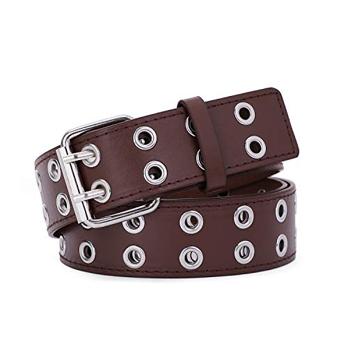 Double Grommet PU Leather Belt for Women/Men Punk metal Jean Belt Wide 1.5 Inch (04 Coffee, Fit Pants 22-35inch)