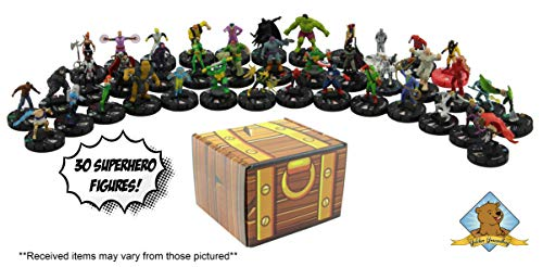 (Random 30 Minis Figures! No Duplication! Superhero Miniature Figures! Includes Golden Groundhog Treasure Chest Storage Box!)
