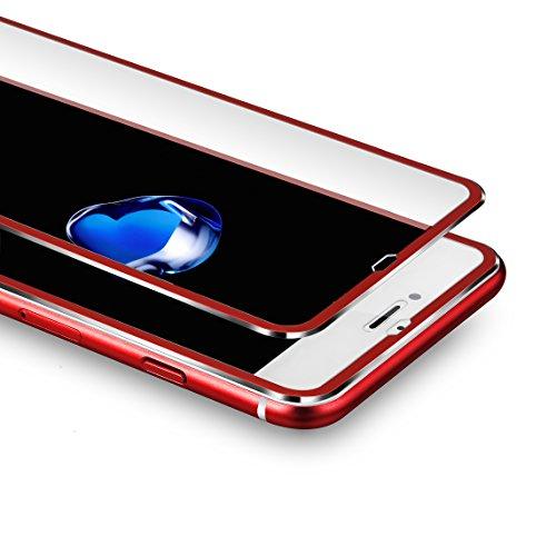 VIUME Screen Protector Apple iPhone 7 Plus / 8 Plus, 9H Hardness iPhone 7 Plus/iPhone 8 Plus Tempered Glass Screen Protector 3D Full Coverage 5.5 (Metal Red)