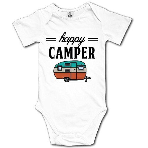 Camper Short Sleeve Onesie - Happy Camper Camping Outdoor Onesie Newborn Baby Boys Girls Short Sleeve Bodysuit Romper (White, 6 Months)
