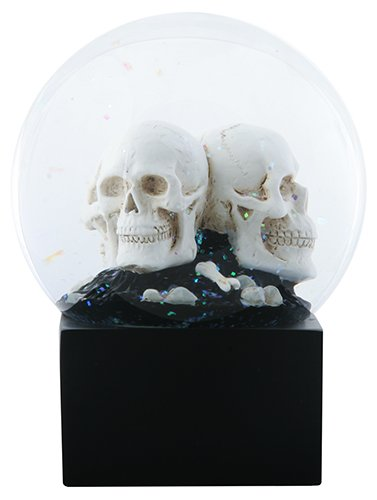 4.5 Inch LED Cream Colored Multiple Skull Heads Water Globe