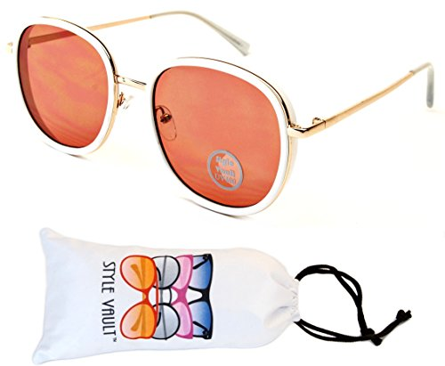 V117-vp Style Vault Metal Double Frame Round Sunglasses (E3124G White/Gold/Clear-Pink, - Glasses Wire Trend