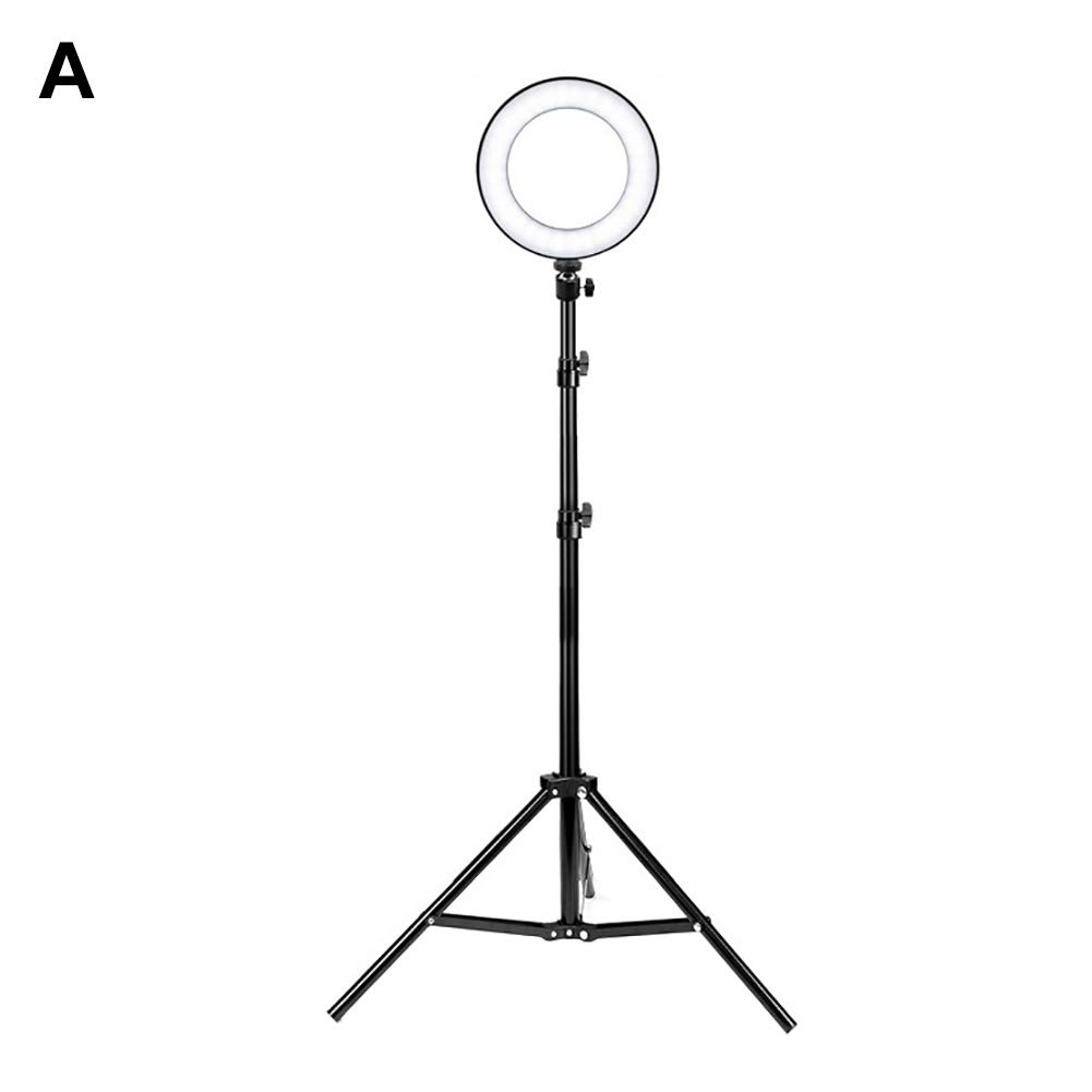 Yvetti Universal Selfie LED Ring Light With Tripod Stand Bracket Portable USB Charge Dimmable Photography Phone Selfie Lamp for Live Stream/Makeup/Video A by Yvetti