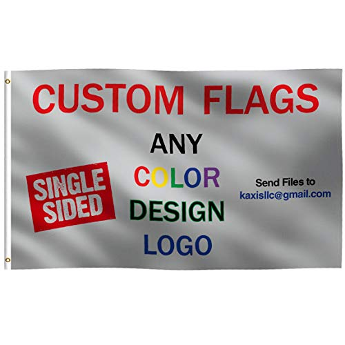 K-AXIS Custom 3x5 Foot Flag: 100% Polyester Banner with Strong Canvas Header - for Any Color, Design, Image, or Business Logo - UV Resistant Vibrant Digital Print - for Outdoor or Indoor Use (3x5 ft)]()