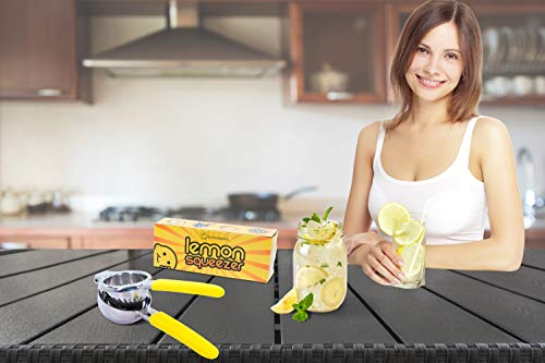 Premium Quality CitrusTime Lemon Lime Squeezer - By Lemonescent - Stainless Steel with Yellow Silicone Handles - Commercial Grade Metal - Comfort and Durability - Handheld Juice Press
