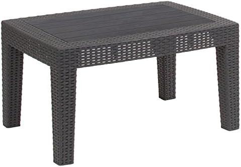 Flash Furniture Dark Gray Faux Rattan Coffee Table