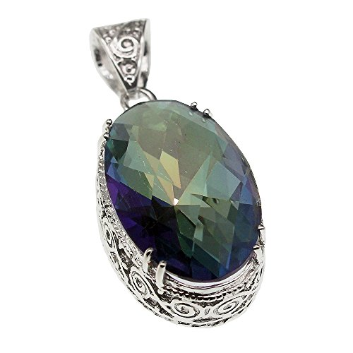 Women Pendant Necklace Vintage Silver Fire Mystic Topaz Solitaire Jewelry 18