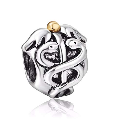 EVESCITY Silver Caduceus Medical Nurse Doctor Bead Sterling Charm Fits Pandora & Similar Bracelets