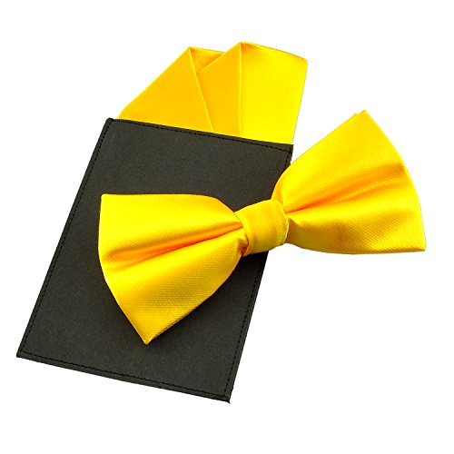 Yellow Gold Three Color - PenSee Mens Silk Solid Pre-Tied Bow Tie & Hanky Card Set - Various Colors (Gold Yellow 3)