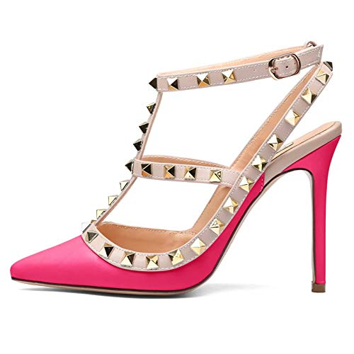 (Chris-T Womens Heels Strappy Sandals Rivets Studs High Heels Sexy Sandals Peach/Beige Strap/Gold Studs Size 9 US)