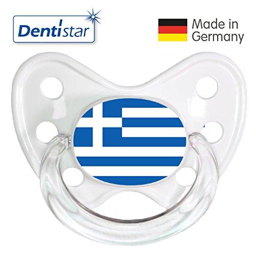 Dentistar® Silikon-Schnuller - Nuckel Griechenland Größe: 3 - Beruhigungs-Sauger Greece für Junge & Mädchen ab 14 Monaten als Geschenk zur Geburt - zahnfreundlich, BPA-frei, Greif-Ring