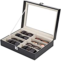 CO-Z Leather Multi Sunglasses Organizer for Women Men, Multiple Eyeglasses Eyewear Display Case, Sunglasses Jewelry Collection Case, Sunglass Glasses Storage Holder Box with 8 Slots (8 Compartments)