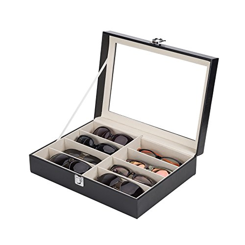 CO-Z Leather Box Eyeglasses Eyewear Organizer Display Storage Case – 8 Compartments (8 - Sunglasses Case
