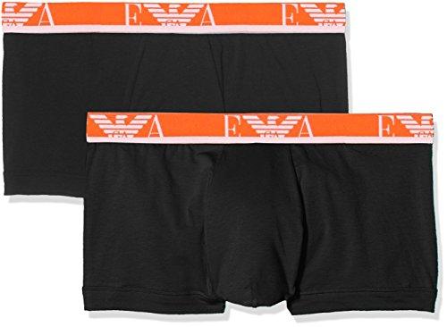 Emporio Armani Men's Stretch Cotton Eagle Logo Trunks, 2-Pack, Black/Black, - Online Emporio Shop Armani