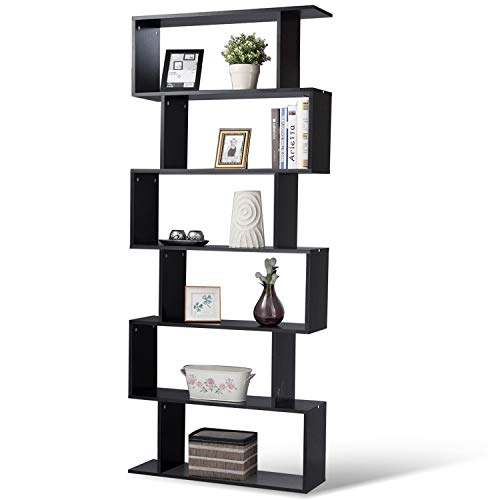 Tangkula 6 Shelf Bookcase S-Shaped Z-Shelf Style Bookcase Multifunctional Wooden Storage Display Stand Shelf Modern & Simple Living Room Free Standing Book Shelf Storage Shelf - Bookshelf Doll House