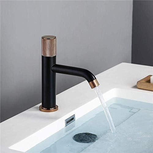 Zxyan 蛇口 立体水栓 タップゴールドローズローレットハンドル浴室の洗面台のスイベルローレットノブデザインデッキマウント水ミキサータップ トイレ/キッチン用
