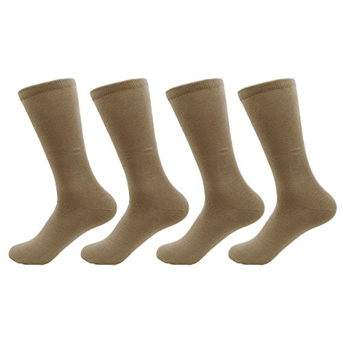 Men's Medium/Large Rayon from Bamboo Fiber Mid-Calf Socks - Taupe - 4prs, Size (Taupe Mens Socks)