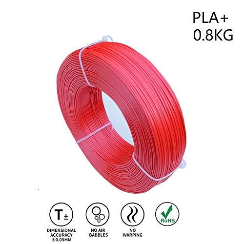 (LEE FUNG 1.75mm PLA Plus(PLA+) 3D Printer Filament 0.8KG(1.76lbs) Refill (NO Spool) - Red)