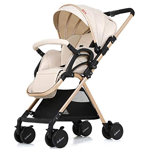 Baby Stroller - Light can sit Reclining Shock Absorber Umbrella Foldable (Color : Khaki)