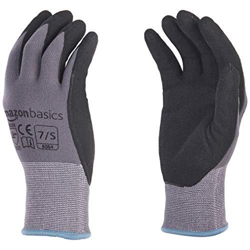 AmazonBasics Micro-Foam Nitrile Coated Work Gloves, Nylon Liner Fiber, Touch Screen, Grey, Size 7, S, 12-Pair