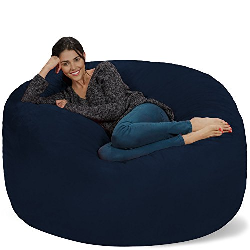 Chill Sack Bean Bag Chair: Giant 5' Memory Foam Furniture Bean Bag - Big Sofa with Soft Micro Fiber Cover - (Navy Bean Bag Chair)