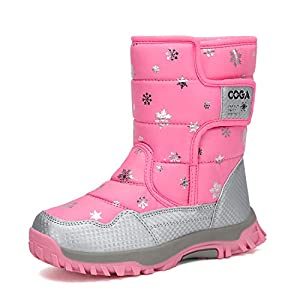 Mishansha Girls Boys Winter Snow Boots Warm Waterproof Anti-Slip Anti-Collision Hight-Cut for Outdoor Skiing