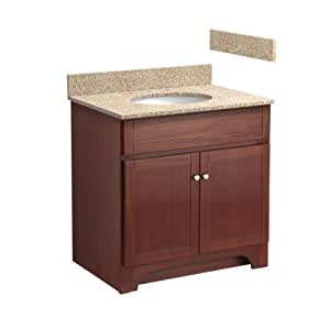 Foremost COCAT3021-8W 30-Inch Columbia Bathroom Vanity Combo with Wheat Beige Granite Top, Pre-Attached Undermount Sink and 8-Inch Centers, Cherry