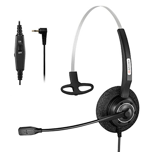 adset w/Noise Canceling Boom Mic in-line Volume Mute-Switch for Panasonic Cordless Phones and Grandstream Polycom Cisco Linksys SPA Panasonic Gigaset (2.5-Black-Mono) ()