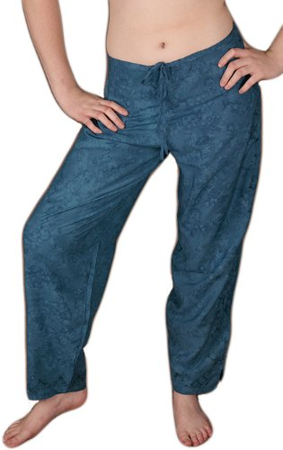 Embroidered Drawstring Pants - Teal, Large (Embroidered Drawstring Pants)