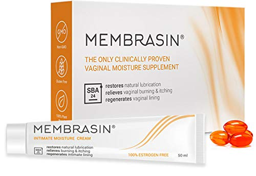Membrasin® for Vaginal Dryness - 100% Natural Moisture Supplement & Intimate Cream Pack - Proven to Restore Lubrication & Relieve Dry Vagina Burning & Itching - Safe Lubricant for Women and Menopause